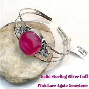 Jewelry - HOT PINK DRUZY QUARTZ Butterfly CUFF BRACELET